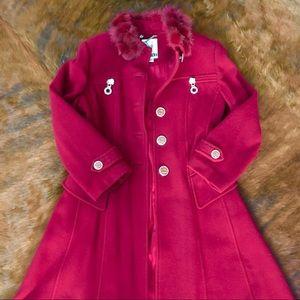 Jackets & Blazers - FAiTAT Long Wool Coat in Burgundy